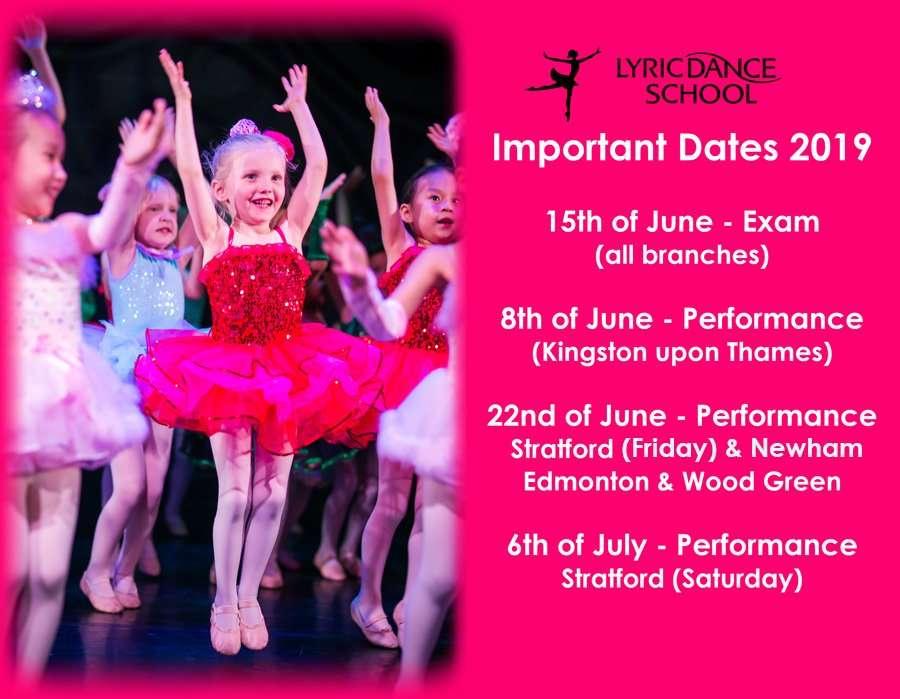 Important Dates (Exam & Performances) 2019!
